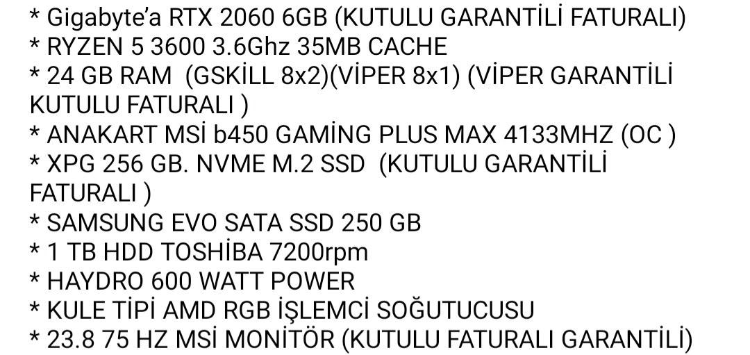 RTX 2060LI SİSTEM